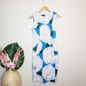 Karl Lagerfeld Blue & White Floral Sheath Dress